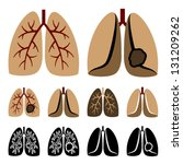 vector human lung cancer icons | Shutterstock .eps vector #131209262