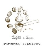 coffee time  illustration hand... | Shutterstock .eps vector #1312112492