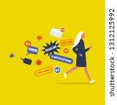 digital hygiene. stress. female ... | Shutterstock .eps vector #1312125992