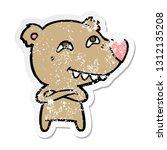 distressed sticker of a cartoon ... | Shutterstock .eps vector #1312135208