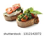 fresh tasty bruschettas on... | Shutterstock . vector #1312142072