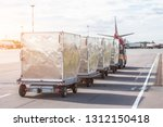 trailers with containers of... | Shutterstock . vector #1312150418