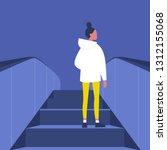 brunette female character going ... | Shutterstock .eps vector #1312155068