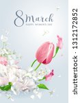 tulips  peonies and apple... | Shutterstock .eps vector #1312172852