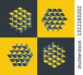 set of isometric cubes... | Shutterstock .eps vector #1312183202