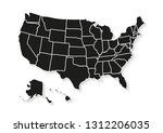 usa map isolated on white... | Shutterstock .eps vector #1312206035