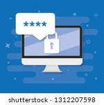 pcwith password form page on... | Shutterstock .eps vector #1312207598