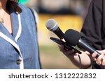 reporters making media... | Shutterstock . vector #1312222832