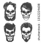 set of stylized human skulls... | Shutterstock .eps vector #1312224608