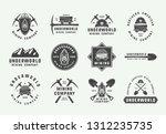set of retro mining or...   Shutterstock .eps vector #1312235735