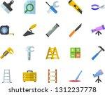 color flat icon set trowel flat ... | Shutterstock .eps vector #1312237778