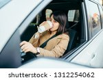young woman driving car. safety ... | Shutterstock . vector #1312254062