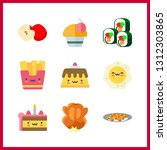 9 delicious icon. vector... | Shutterstock .eps vector #1312303865