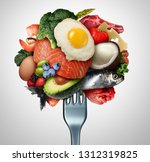 eating ketogenic food and keto... | Shutterstock . vector #1312319825