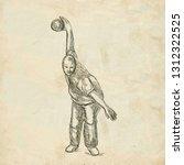 bowling   an sportman. an hand... | Shutterstock . vector #1312322525