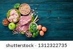 balanced diet food background.... | Shutterstock . vector #1312322735