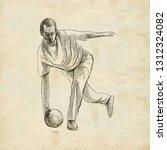 bowling   an sportman. an hand... | Shutterstock . vector #1312324082