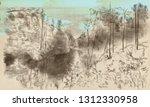 landscape  countryside. an hand ... | Shutterstock . vector #1312330958
