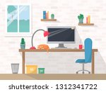 Stock vector work place in flat style computer on working table with chair lamp mug shelves with books and 1312341722