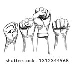 sketch of raised fists. hand... | Shutterstock .eps vector #1312344968