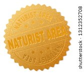 naturist area gold stamp badge. ... | Shutterstock .eps vector #1312352708