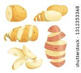 potatoes in flat cartoon style... | Shutterstock .eps vector #1312353368