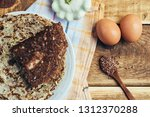 pancakes of zucchini and eggs... | Shutterstock . vector #1312370288