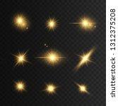 glowing golden lights and stars.... | Shutterstock .eps vector #1312375208