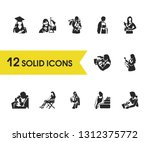 people icons set with...