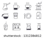 pictograms of coffee on a white ... | Shutterstock .eps vector #1312386812