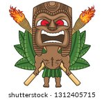 a hawaiian tiki with two... | Shutterstock .eps vector #1312405715