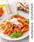 italian style pasta with tomato ... | Shutterstock . vector #1312419635