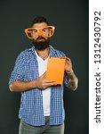 hipster bearded man wear funny... | Shutterstock . vector #1312430792