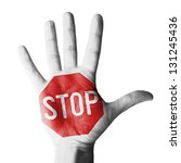 hand raised with stop sign... | Shutterstock . vector #131245436
