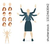 businesswoman cartoon style... | Shutterstock .eps vector #1312463042
