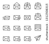 email vector line icon set.... | Shutterstock .eps vector #1312508315