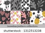 floral seamless background set | Shutterstock .eps vector #1312513238
