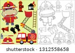 coloring book or page of hippo... | Shutterstock .eps vector #1312558658