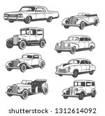 Stock vector monochrome vector cars isolated vintage vehicle old vehicles exhibition and motor show vector 1312614092