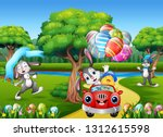 happy easter rabbit riding a... | Shutterstock .eps vector #1312615598