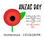 anzac day banner design with... | Shutterstock .eps vector #1312618298