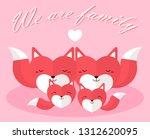 origami heart fox family.... | Shutterstock .eps vector #1312620095