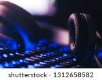 audio headphones on the... | Shutterstock . vector #1312658582
