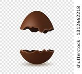 easter broken egg 3d. chocolate ... | Shutterstock .eps vector #1312662218