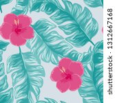 tropical pattern with hibiscus... | Shutterstock .eps vector #1312667168