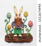 funny bearded hare in the... | Shutterstock . vector #1312674995