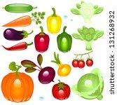 set vegetable on a white... | Shutterstock . vector #131268932