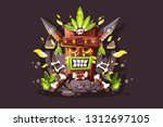 magic totem with bones and... | Shutterstock .eps vector #1312697105