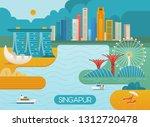 singapore city skyline.... | Shutterstock .eps vector #1312720478
