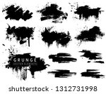 Stock vector grunge collection with black brush strokes and splashes vector ink blots brushs 1312731998